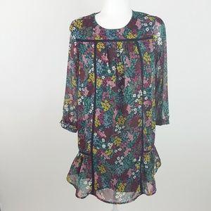 Loft Long Sleeve Floral Peasant Dress XSP Black